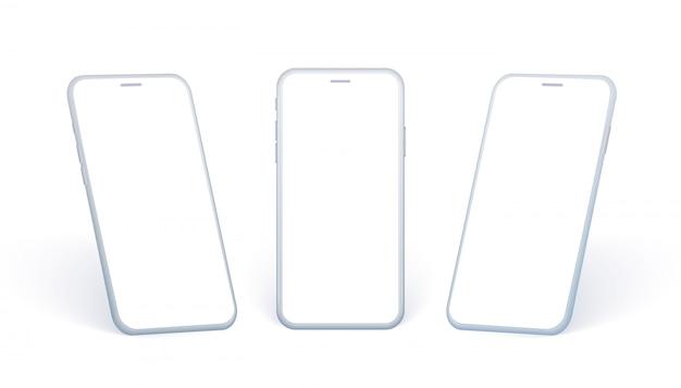 Вид сбоку мобильного телефона. белая коллекция смартфонов под разными углами и в перспективе. абстрактное устройство с пустым экраном для отображения дизайна приложения или веб-сайт.