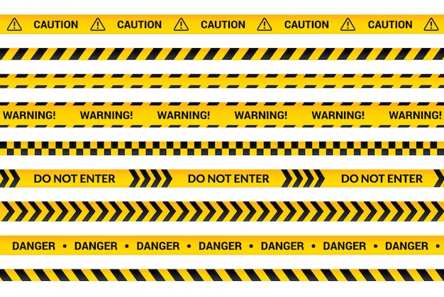 注意テープセット、黄色の警告ストリップ、危険記号、矢印、黒いテキストと三角形の記号の付いた黄色の線。注意メッセージイラストフラットバナー分離コレクション。