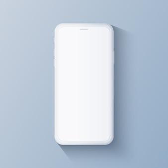 任意のアプリとプレゼンテーション用のスマートフォンのコンセプトホワイトカラー。