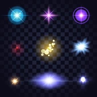 Набор светящихся разноцветных огней, линзы, звездная вспышка на темноте