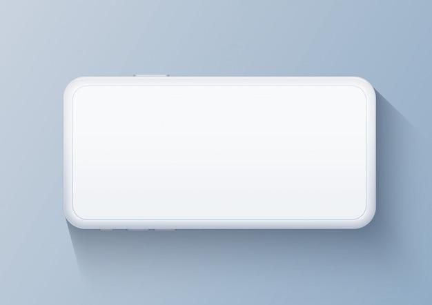 Мобильный шаблон белый спереди горизонтальный. смартфон в реалистическом стиле с пустым экраном