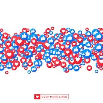 Куча лайков и значков смайликов, большой палец вверх по течению социальной сети. иконки сердца и стук для как и уважения.