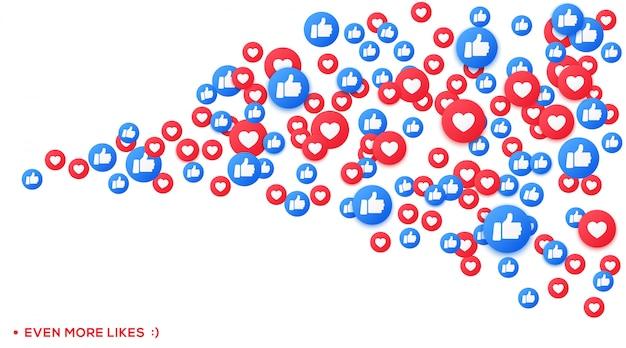 たくさんの好きな絵文字アイコンと、ソーシャルネットワークの親指アップストリーム。ハートとサンプのフローティングアイコン。