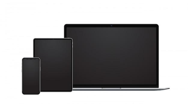 Устройство, смартфон, планшет и ноутбук с пустыми экранами в современном бескаркасном стиле.