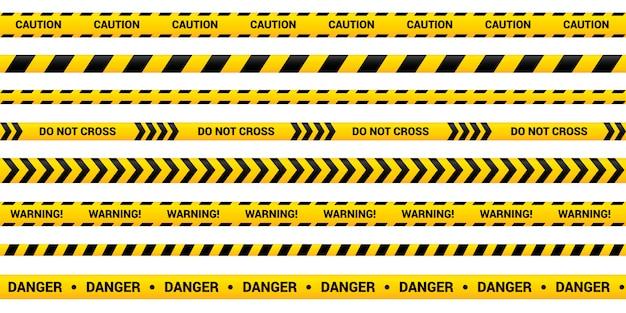黄色の警告リボンの注意テープセット、テープテンプレート。