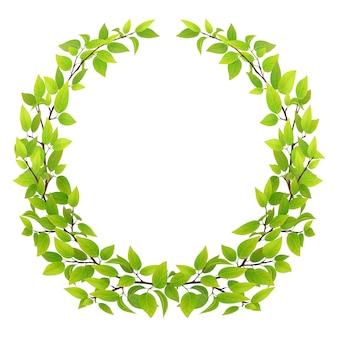 緑の葉と木の枝の大きな花輪