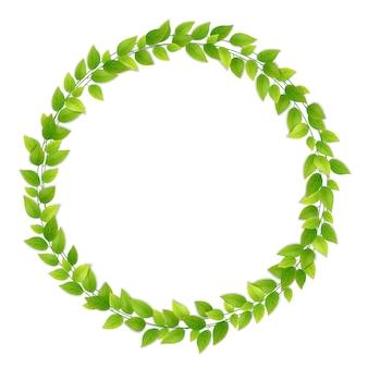 新鮮な緑の葉の花輪。