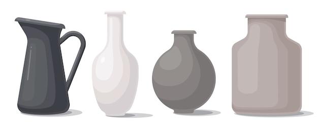さまざまな形や色の花瓶のセット。