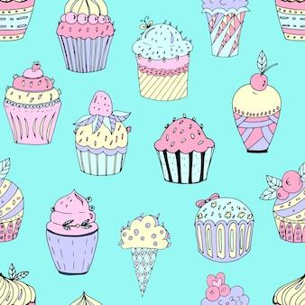 さまざまな色のケーキのシームレスパターン