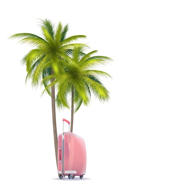 Пальмовый и розовый чемодан