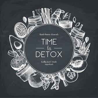 黒板に健康的な食べ物や飲み物のデザイン。手描きの野菜、果物、ハーブ、ナッツのスケッチの背景。夏のダイエットのアイデアテンプレート。