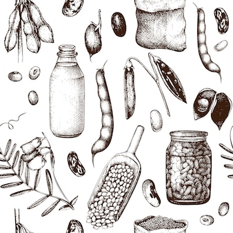 手描きのマメ科植物のパターン。ビンテージ背景。