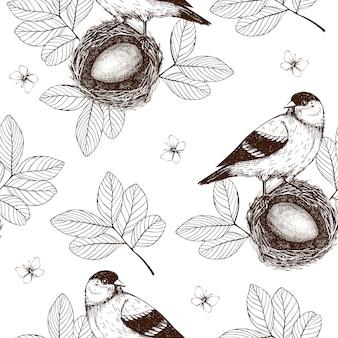 インクとのシームレスなパターンは、咲く木の小枝に鳥を手描きします。白のヴィンテージのスケッチの背景