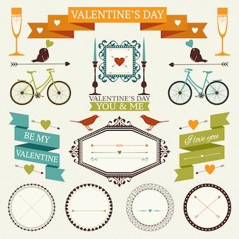 バレンタインデーのビンテージフレーム、ボーダー、リボン、その他の要素のコレクション。