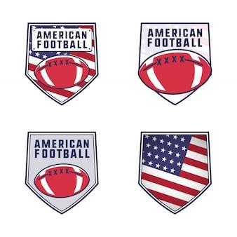 アメリカンフットボールのロゴエンブレムセット。平らなカラフルなスタイルのパッチでアメリカのスポーツバッジコレクション