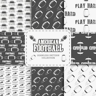 アメリカンフットボールのシームレスパターンコレクション