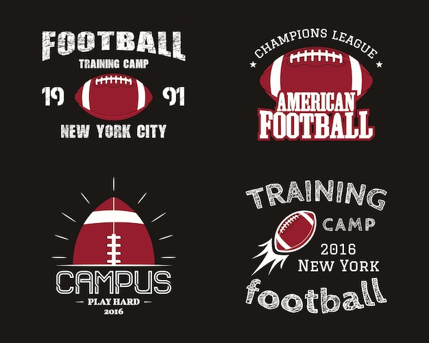 Набор значков американского футбола, логотипов, этикеток, эмблем в стиле ретро цвета. красочный стиль, изолированные на темном фоне.