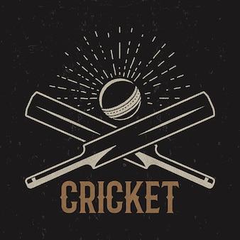 レトロなクリケットのロゴ。スポーツエンブレム。株式