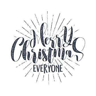 クリスマスタイポグラフィラベル