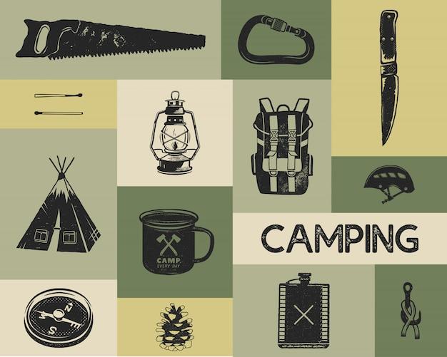 シルエットのレトロなスタイルでキャンプのアイコンを設定します