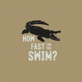 ワニのロゴのテンプレート。野生動物デザイン