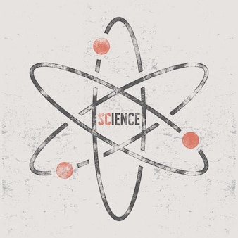 Ретро научный дизайн со структурой молекулы