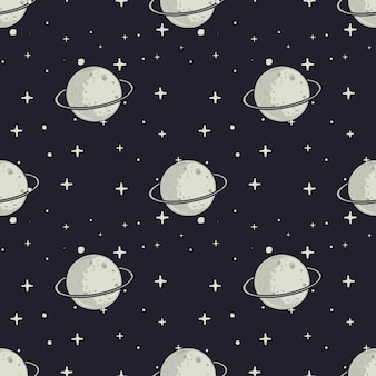 ヴィンテージ手描きのムームと星のパターン。スペースのシームレスなテクスチャ。