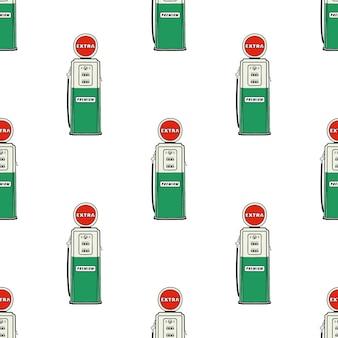 ガソリンスタンドポンプシームレス。ヴィンテージ手描き下ろし石油ステーションパターン。