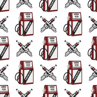 シームレスなスパークプラグ付きガソリンスタンドポンプ。ヴィンテージ手描き下ろし石油ステーションパターン。