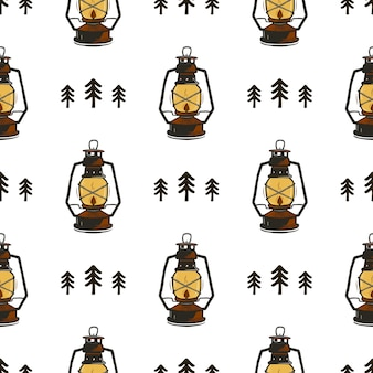 ランタンと木とレトロなキャンプのシームレスなパターン。ヴィンテージ手描き。
