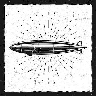 ビンテージ飛行船の背景。レトロな飛行船バルーングランジイラスト。 。スチームパンクの古いスケッチスタイル。