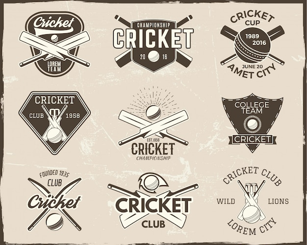 クリケットのロゴのテンプレートコレクション。スポーツエンブレム