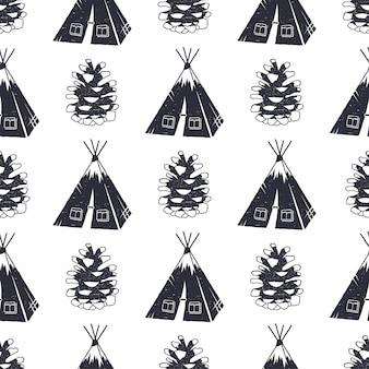 キャンプと森のパターンデザイン。テント、マツ円錐形の図とのシームレスな壁紙