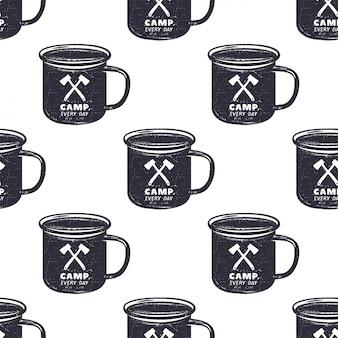 キャンプパターンのデザインマグカップイラストとシームレスな壁紙