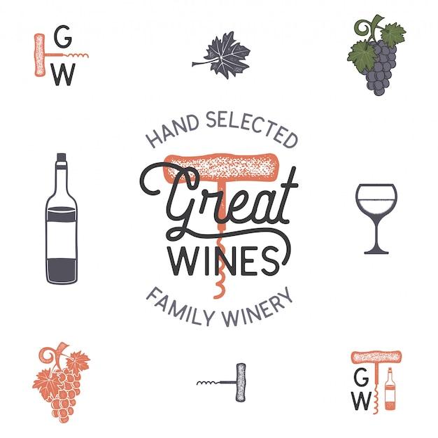 ワインのロゴとワイナリーのアイコン、要素。