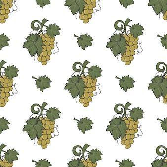ぶどうのつるとワインの葉のアイコンのシームレスパターン