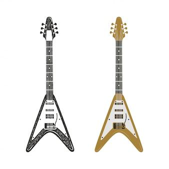黒とレトロカラーのエレキギターセット。ヴィンテージ手描きロックギター