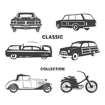 Классические автомобили силуэт набор. старинные автомобили и формы мотоцикла, значки, изолированные