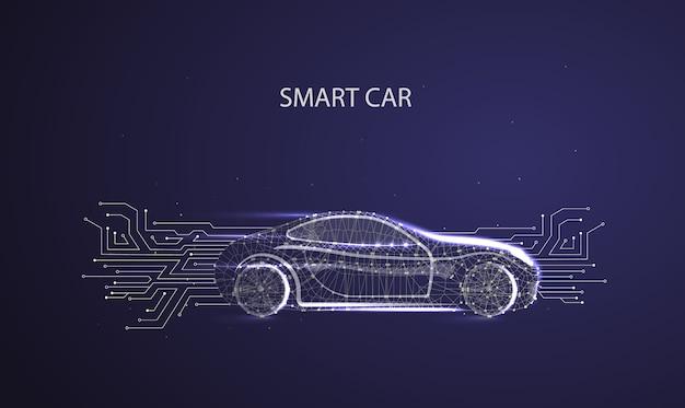 スマート車のベクトルの概念。電気自動車