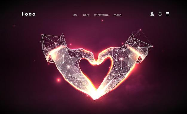 ハート形の手。濃いピンクの背景に抽象化します。低ポリワイヤーフレーム。ジェスチャーの手。愛のシンボル。神経叢ラインと星座のポイント。粒子は幾何学的な形で接続されています。