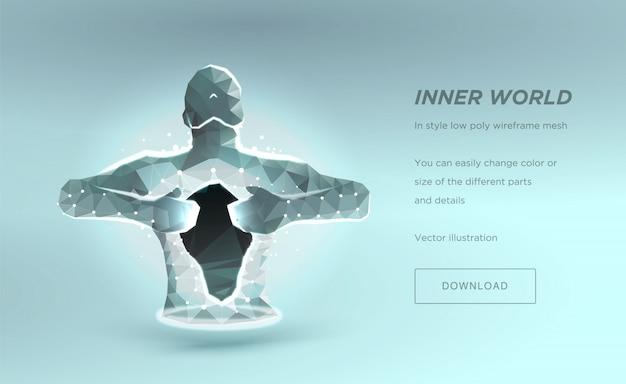 人間の胴体低ポリワイヤーフレーム、魂や病院を癒すという概念。