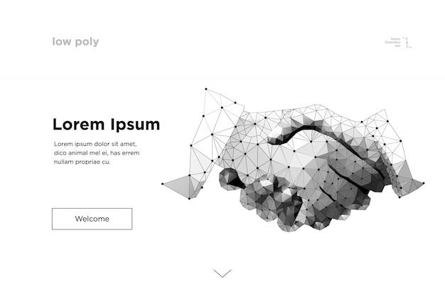 Рукопожатие. абстрактная линия и точка бизнес рукопожатие оригами