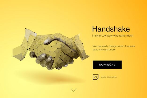 ハンドシェーク。握手をするビジネスマン-ビジネスのエチケット、合併および買収の概念。ビジネスハンドシェイクの概要。多角形のメッシュアート。技術革新の効果、将来。ベクター