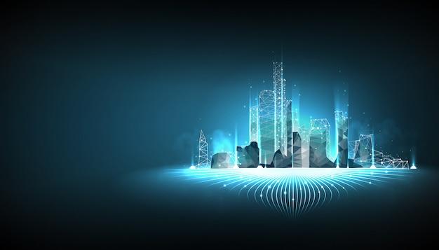 青の背景にスマートシティワイヤフレーム