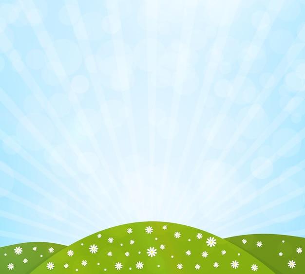 緑の野原、花と青い空と自然の背景。ベクトルイラスト