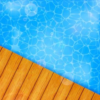 海と木の板と夏の背景