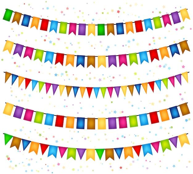 旗の装飾的な花輪とのお祝い