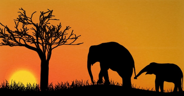 アフリカの象のシルエット