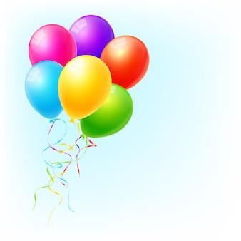 カラフルな風船でパーティーやお祝いの招待状ベクトル