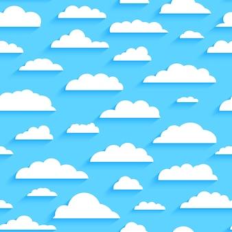 Бесшовный фон с белыми облаками